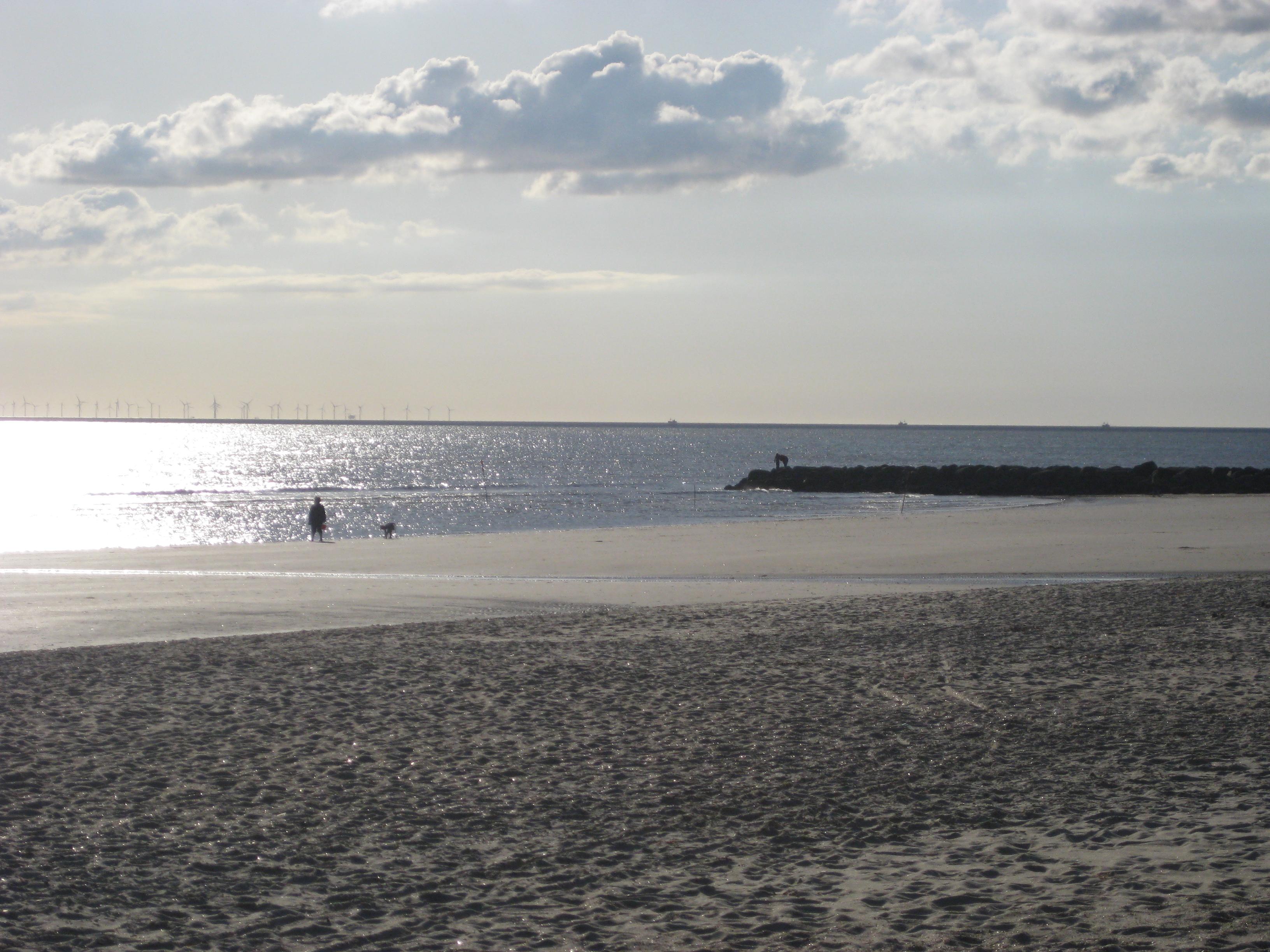 Oma, Hanne. Im Hintergrund: der größte Windpark Europas, Fahrrinne